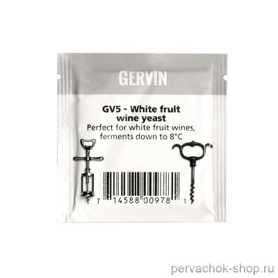 Винные дрожжи Gervin GV5 white fruit wine (Гервин) 5 г