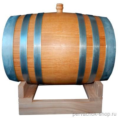 Бочка дубовая 20 литров, сильный внутренний обжиг, воск  (без подставки)