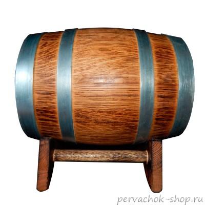 Бочка дубовая 10 литров, сильный внутренний обжиг, наружный обжиг, воск