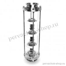 "Тарельчатая колпачковая колонна 3 дюйма (D90), 4 тарелки (сталь AISI 304),  КЛАМП 3"" дюйма"