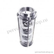 Тарельчатая колпачковая колонна 4 тарелки, сталь, диаметр 120 мм, КЛАМП 4 дюйма