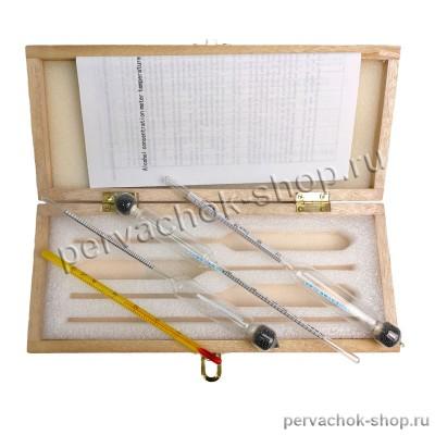 Набор ареометров-спиртометров АСП-3 в деревянном футляре