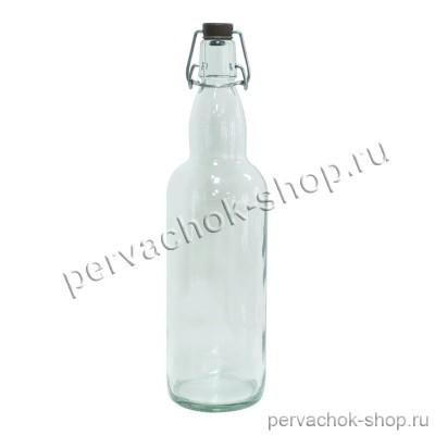 Бутылка с бугельной пробкой 1 л прозрачная