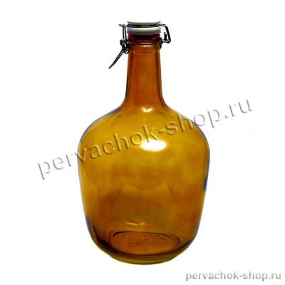 Бутылка стеклянная  Атами с бугельной пробкой 3,4 литра